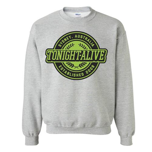 Green Crest Heather Grey Crewneck