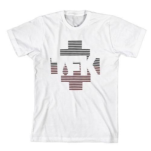 Black & Red Stripes Logo White