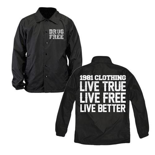 Live True Live Free Black Windbreaker