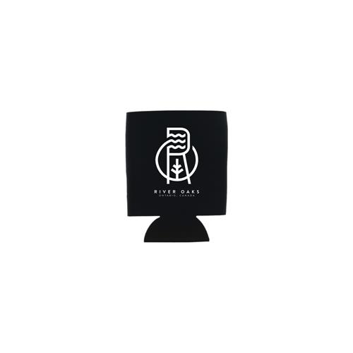 River Oaks Logo Black Koozie