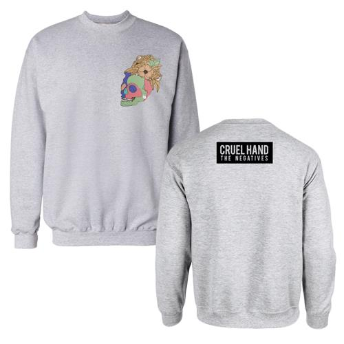 Floral Skull Heather Grey Crewneck Sweatshirt