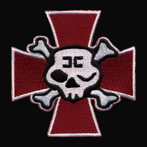 Winking Skull Cross Red