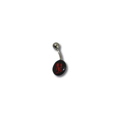 Black Circle Red Hatchetman  Belly Piercing Ring