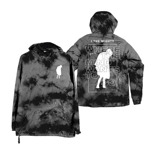 Where The Mind Goes Dyed Black Windbreaker