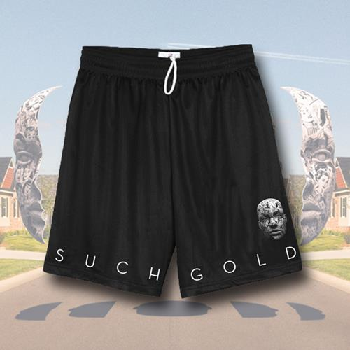 Face Black Mesh Shorts
