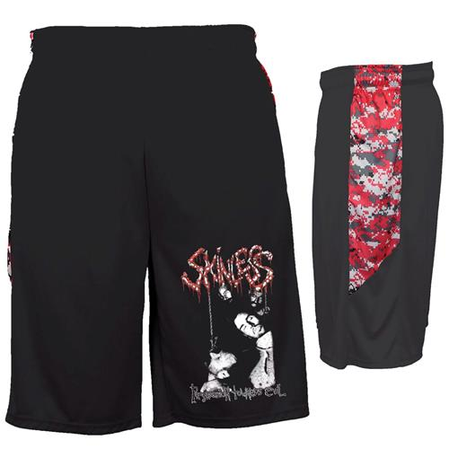 Progression Towards Evil Black With Red Digicamo Shorts