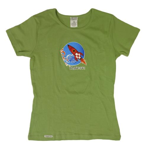 Blast Off! Green Womens T-Shirt