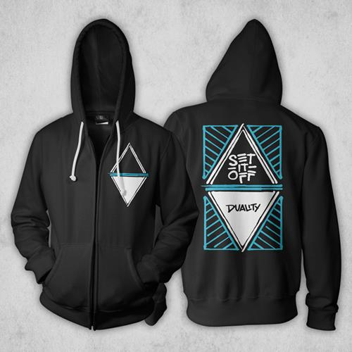 Duality Black Hooded Zip-Up