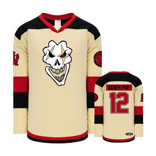 Death Pop Skull Cream-Black-Red Hockey