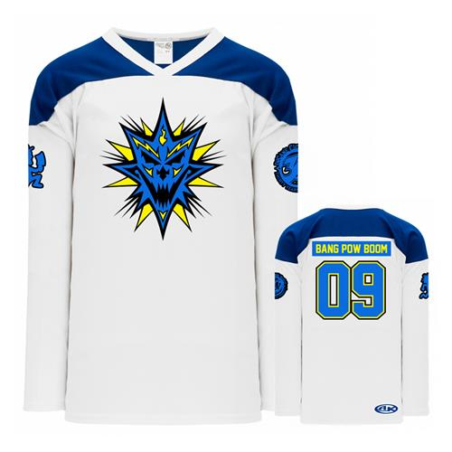 Bang! Pow! Boom! White / Blue Hockey