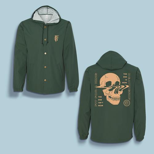 Skull Forest Green Windbreaker