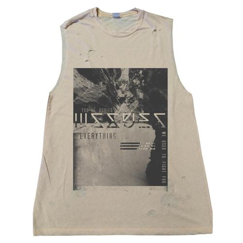Buried Custom Destroyed Sleeveless Natural Shirt
