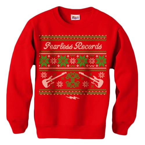 Band Ugly Christmas Sweaters.Ugly Christmas Sweater Red Crewneck Sweatshirt Fear