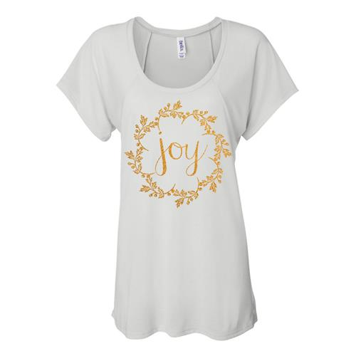 Joy Gold Shimmer Ink On White Flowy