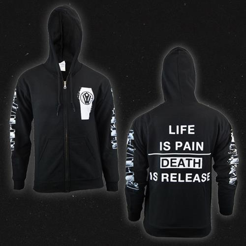 Death Is Release Black Hooded Zip-Up