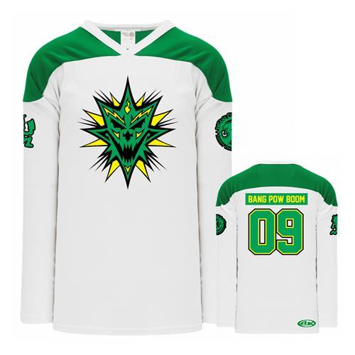 Bang! Pow! Boom! White / Green Hockey