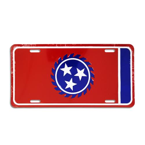 Sawblade Red License Plate