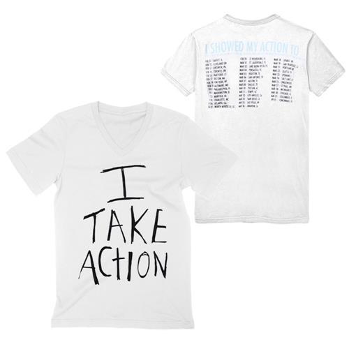 I Take Action V-Neck W/ Back Print White