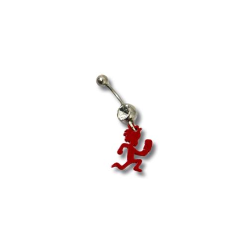 Diamond Dangling Red Hatchetman  Belly Piercing Ring