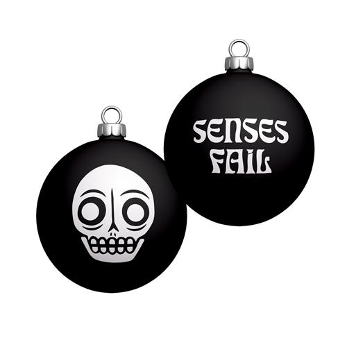 White Skull Black Ornament