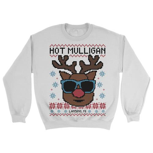Christmas Reindeer Sunglasses White Crewneck