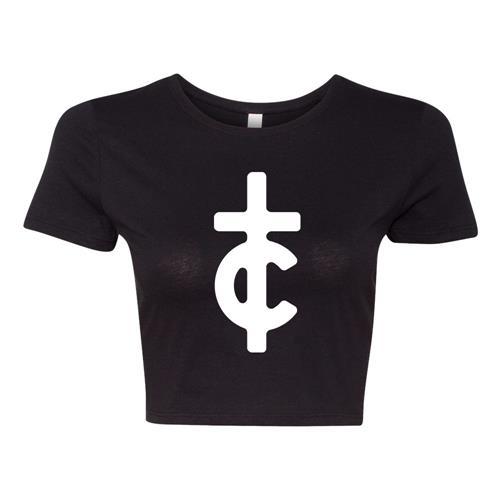 TC Filled Logo Black Crop Top