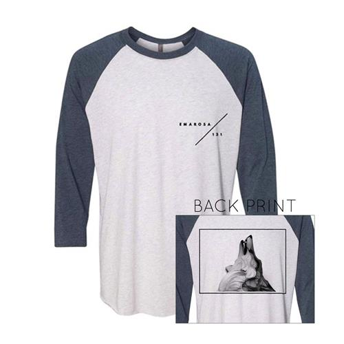 Emarosa/131 Heather White With Indigo Sleeves  XX-Large