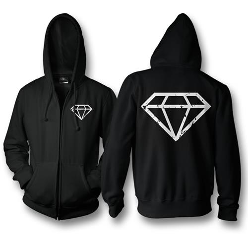 Crystals Black Zip-Up Sweatshirt