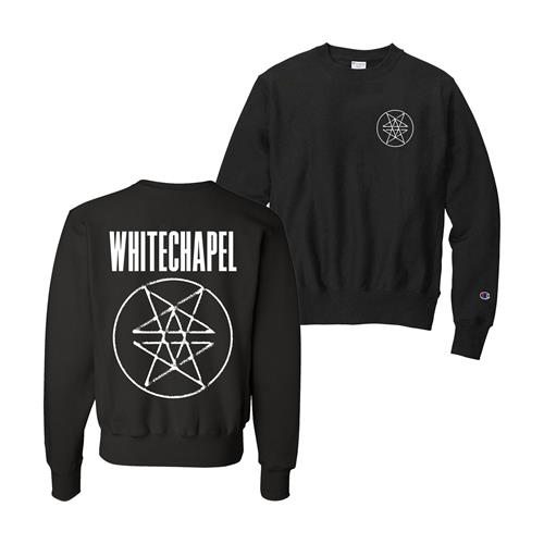 Double Pentagram Embroidered Black Champion Crewneck
