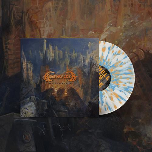 Hell Is Here Now White w/ Blue and Orange Splatter