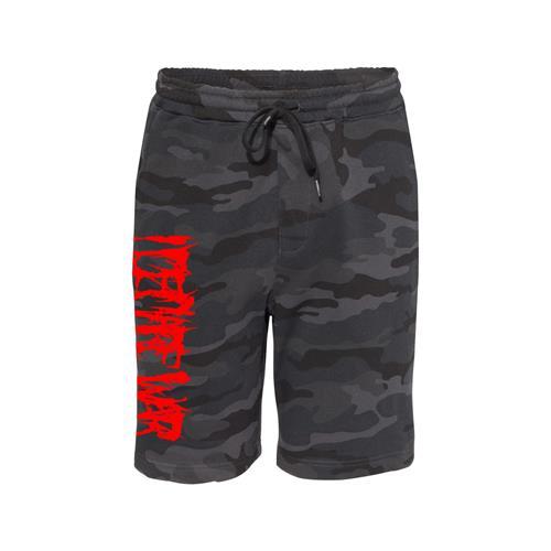 Red Logo Black Camo Fleece Shorts