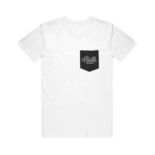 Script Label Merchandise White W/ Black Pocket