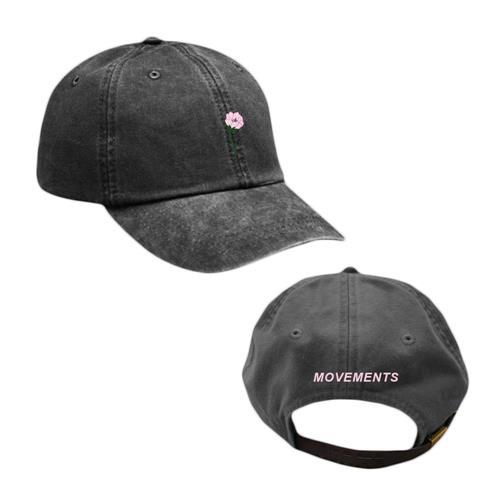 Flower Black Mineral Washed Dad Hat