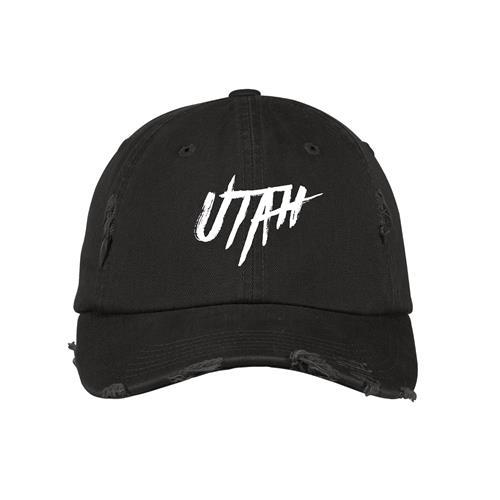 Utah Black Distressed Dad Hat