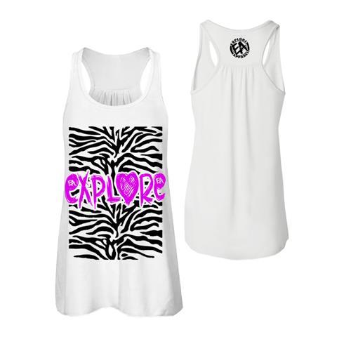 Zebra Print White Ladies Flowy Racerback Tank