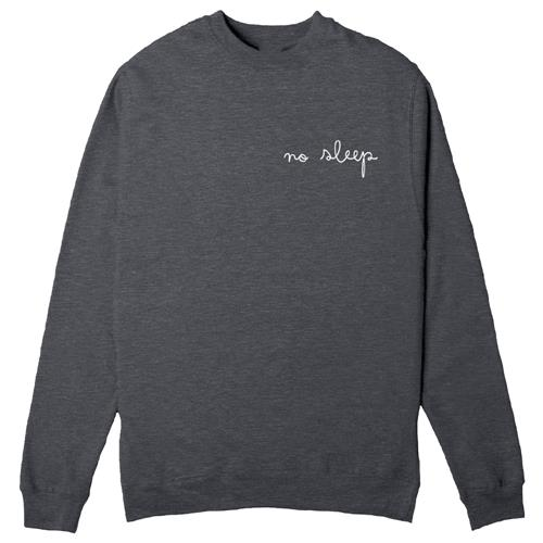 Cursive Embroidered Logo Charcoal Crewneck