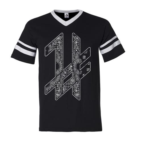 Pattern Logo Black Ringer V-Neck T-Shirt