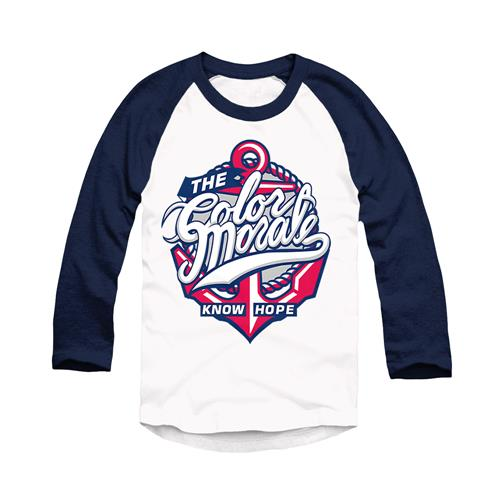 Know Hope Anchor Blue/White Baseball Tee
