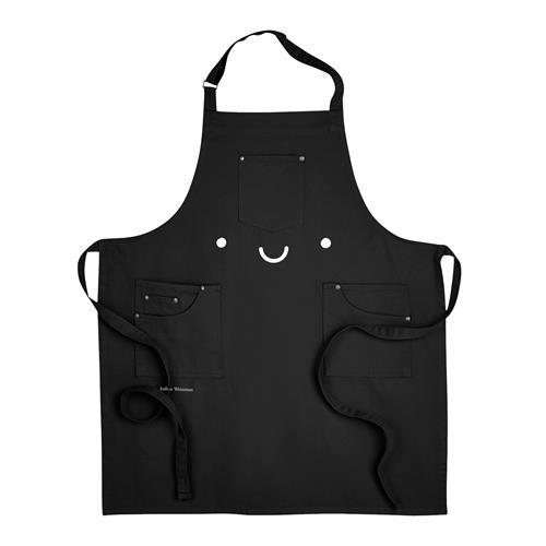 Smile Embroidered Black Apron