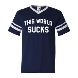 This World Sucks Navy Striped V-Neck Jersey