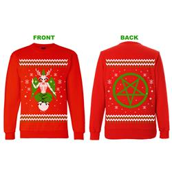 Demon Reindeer Xmas Sweater Red Crewneck