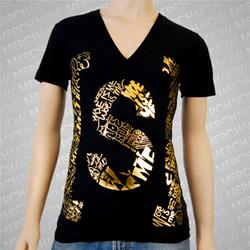 S Logo Gold Foil V-Neck Black