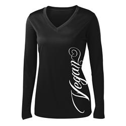 Motive Company Vegan Script Black  Girl's V-Neck