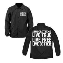 Live True Live Free Black Windbreaker