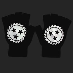 Sawblade Fingerless Black Gloves