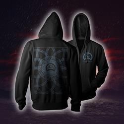 Spirograph Black Zip-Up Sweatshirt