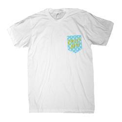 Rain Drop White Printed Pocket T-Shirt