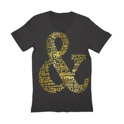 Ampersand Gold Foil V-Neck Black