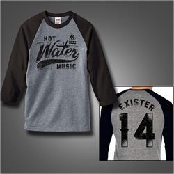 Exister 14 Black/Heather Grey Baseball Shirt