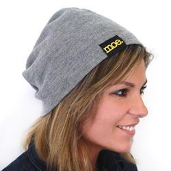Yellow Logo Grey Slouchy Beanie